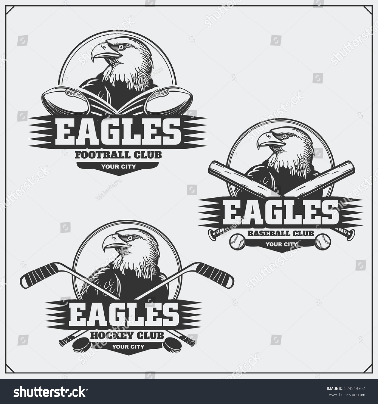 Hockey Logos Football Baseball Hockey Logos Labels Sport Stock Vector Royalty