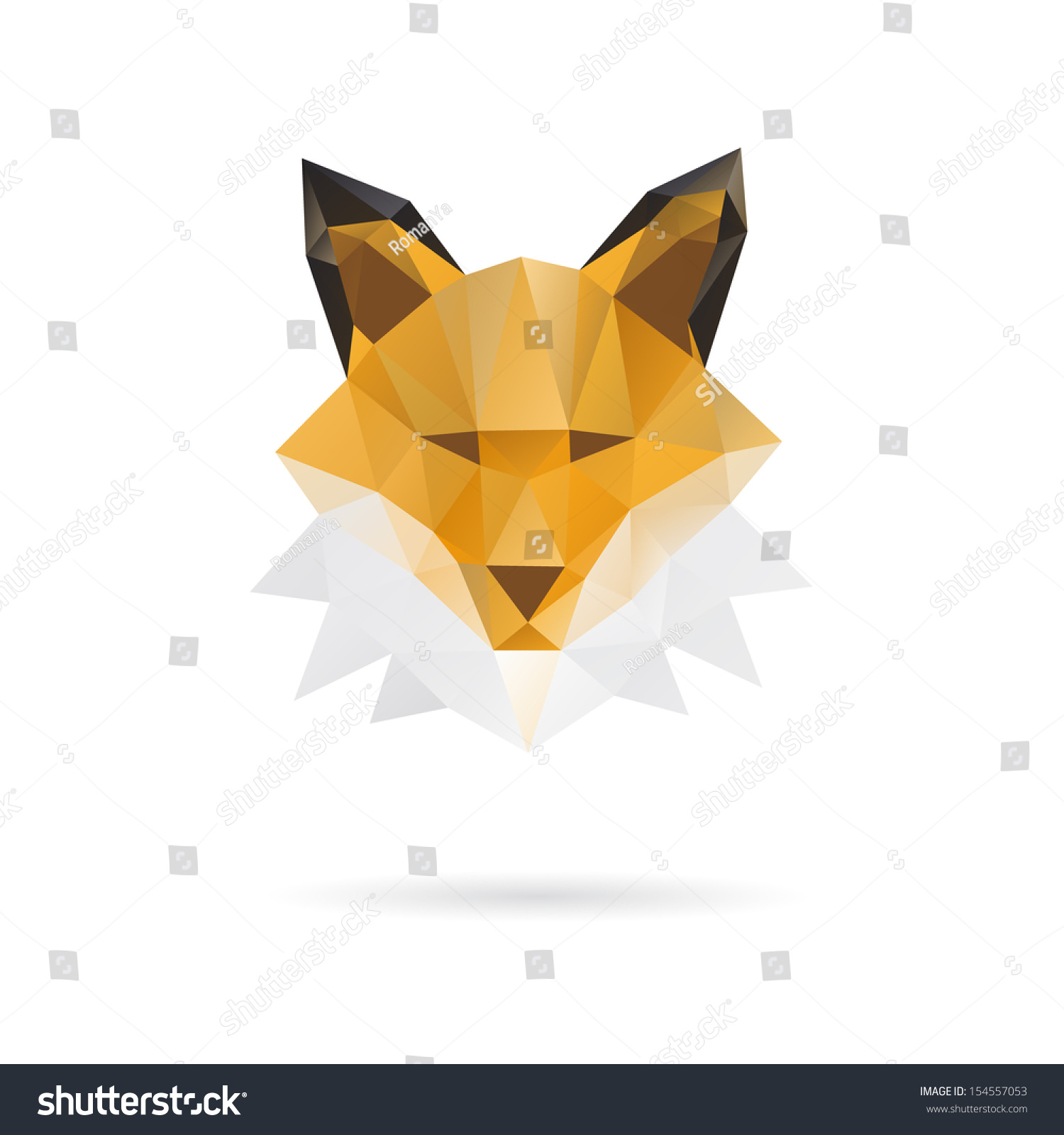 Abstract Fox Art Fox Head Abstract Isolated On White Stock Vector 154557053