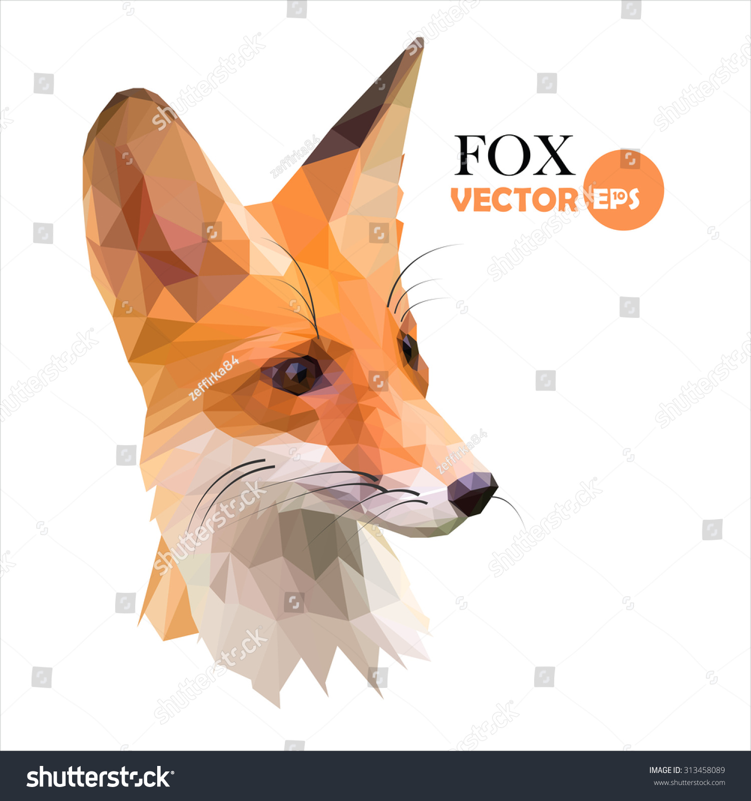 Abstract Fox Art Fox Red Foxes Low Polygon Style Stock Vector 313458089
