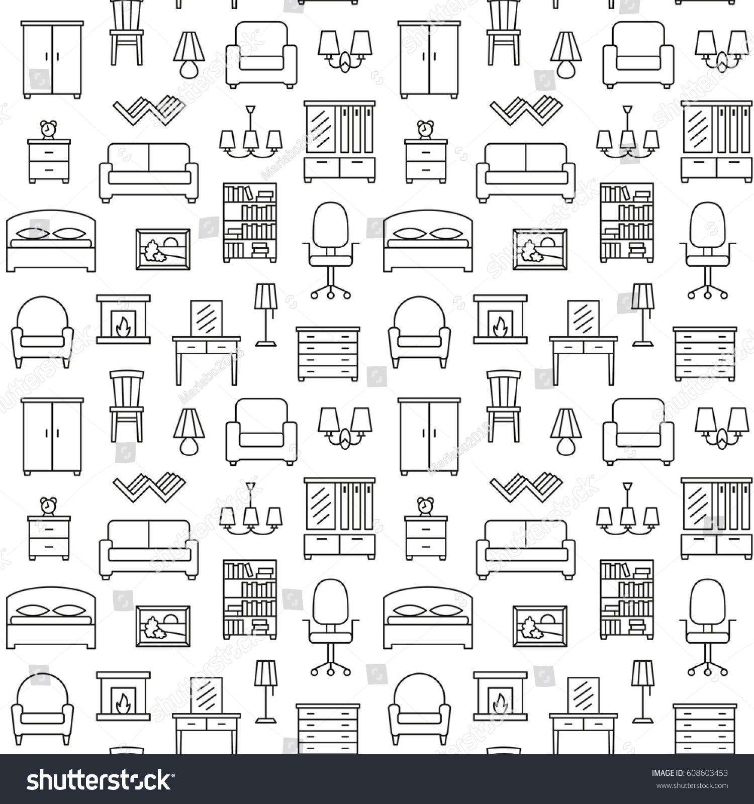 Sofa Texture Vector Furniture Seamless Pattern Background Illustration Vector Stock