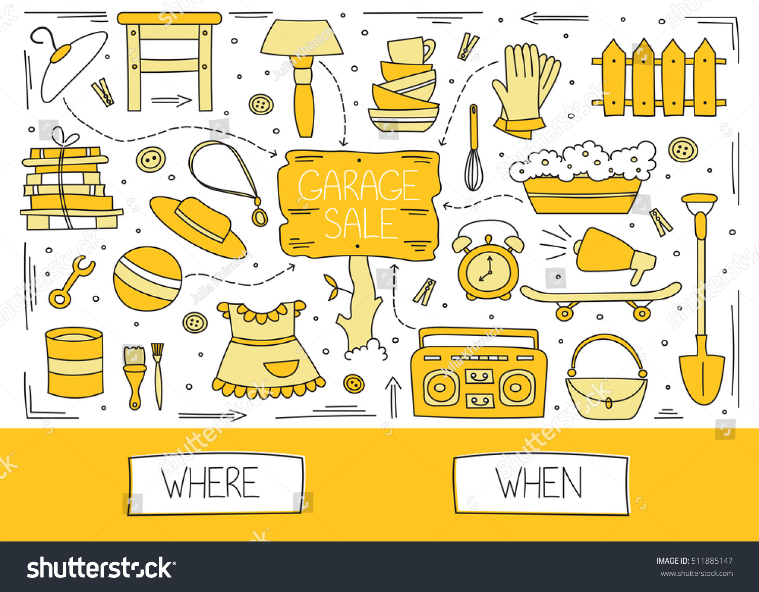 Garage Sale Website Garage Sale Household Used Goods Hand Stock Vector Royalty Free