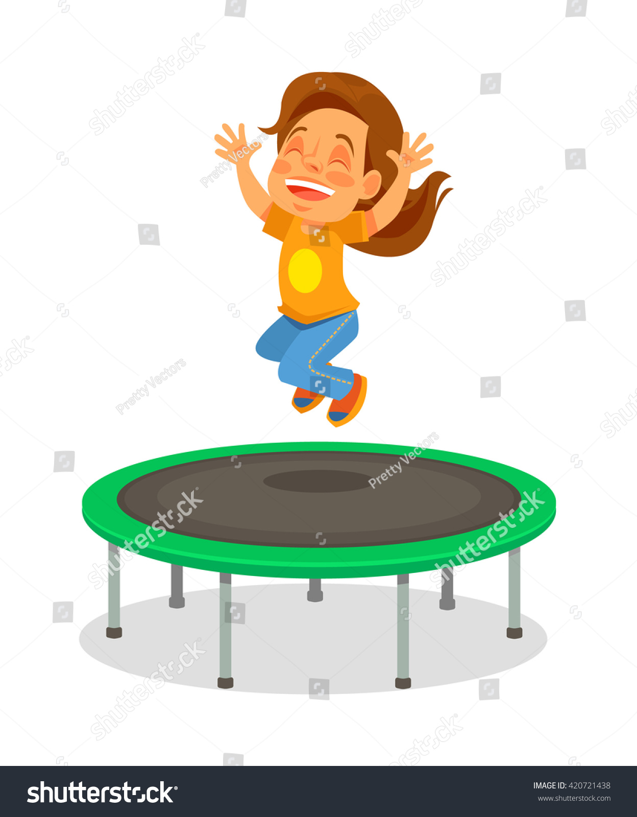 Tappeto Elastico Energetics Girl Jumping On Trampoline Vector Flat Stock Vector