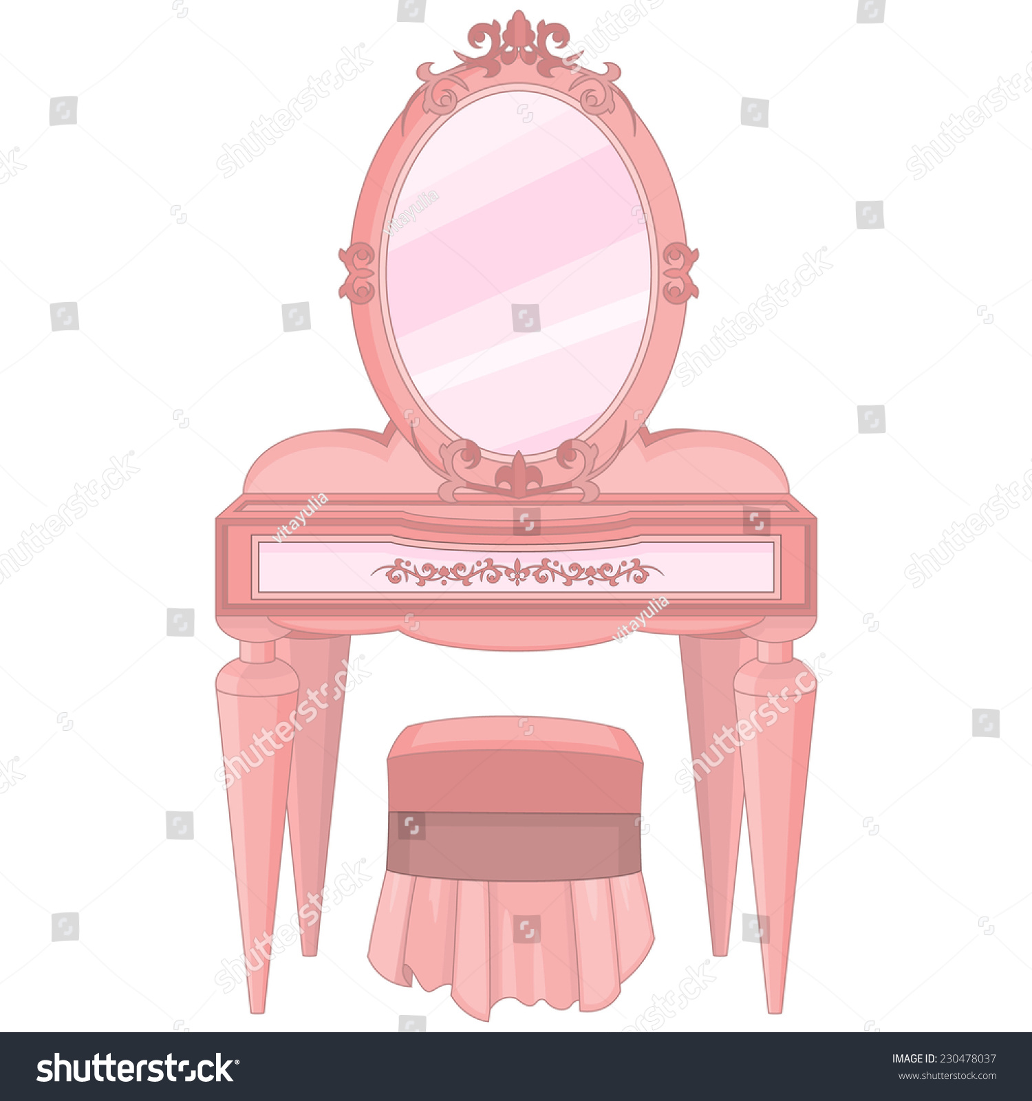Girls Dressing Table Girls Dressing Table Mirror Stool Stock Vector Royalty Free