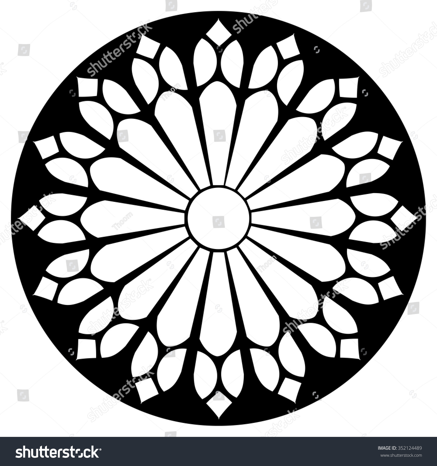 Gothic Rosette Window Pattern Vector Black Stock Vector