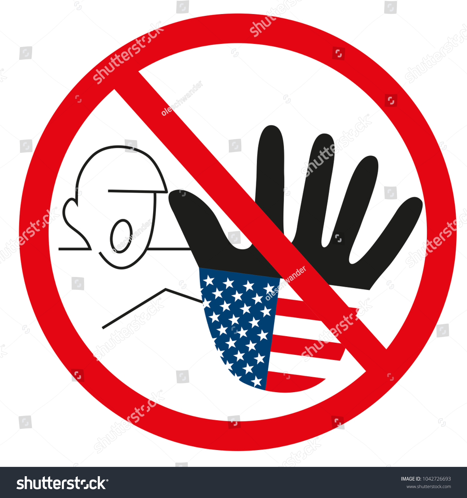 Schranke Clipart Graphic Usa Hand Stop Sign Warning Stock Vektorgrafik Lizenzfrei