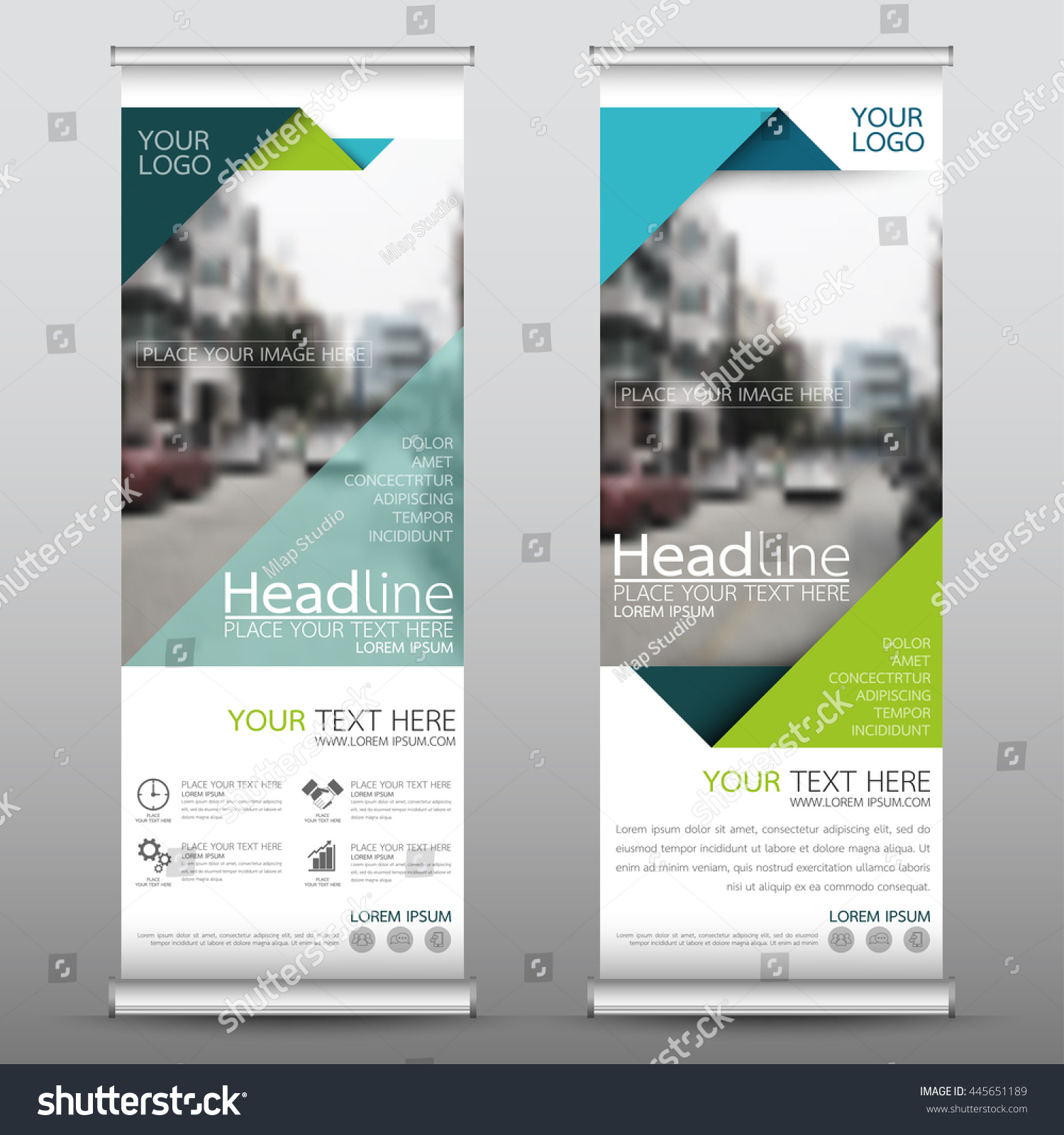 Green roll up business brochure flyer banner design vertical template vector cover presentation abstract geometric