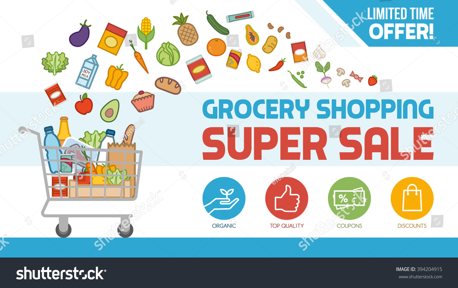 Store Banne Promotion Grocery Discount Shopping Banner Shopping Cart Stock