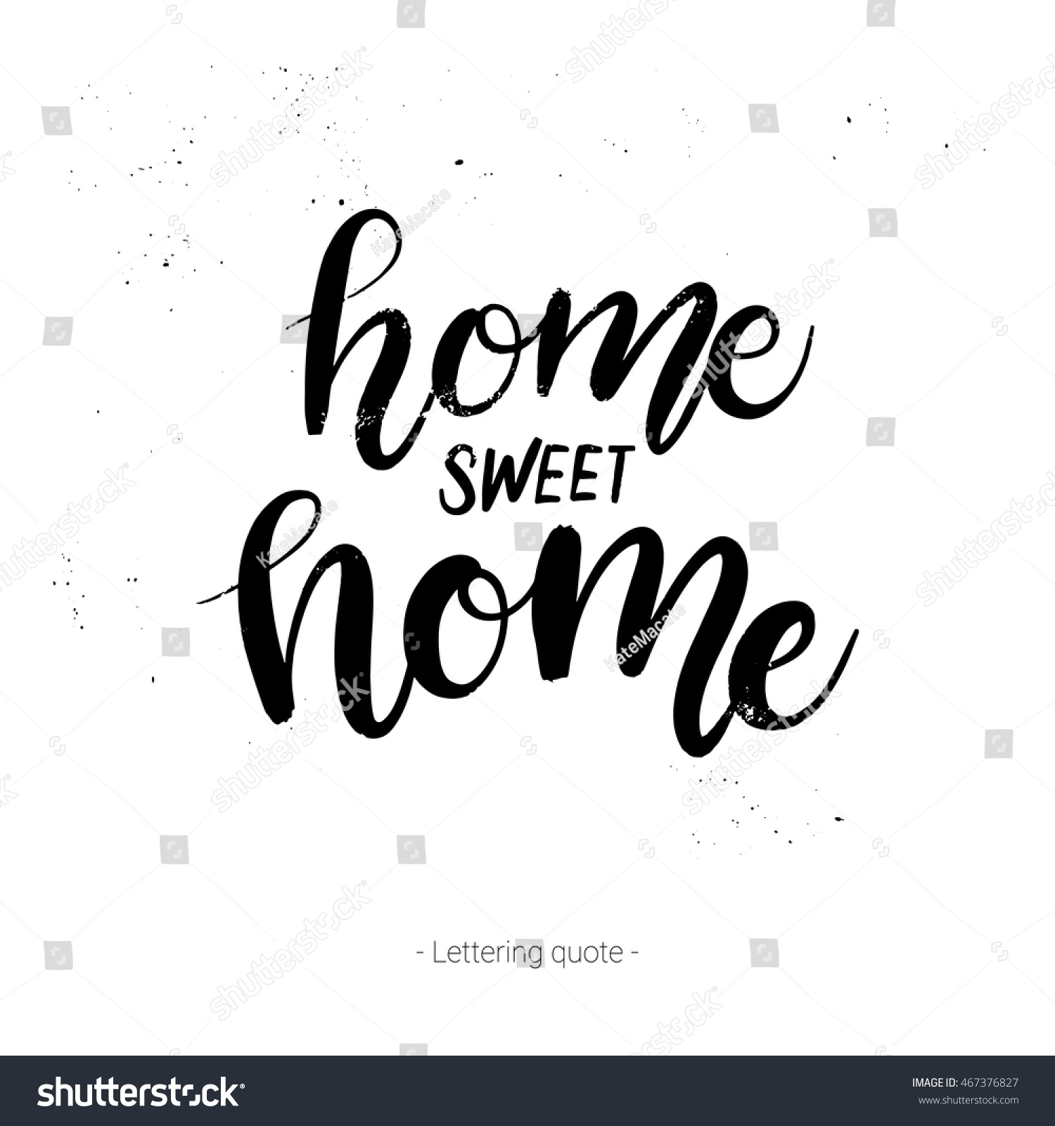 K Modern Calligraphy Hand Drawn Vector Calligraphic Phrase Home Sweet Home Modern