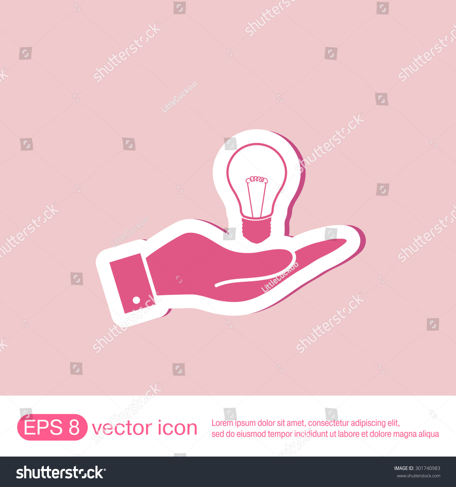 Incandescent Lamp Symbol Hand Holding Lightbulb Sign Character Ideas Stock Vector
