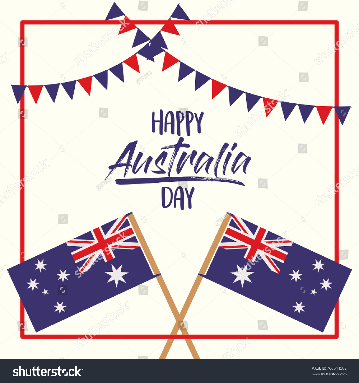 Picture Frames Australia Happy Australia Day Poster Crossed Flags Stock Vector Royalty