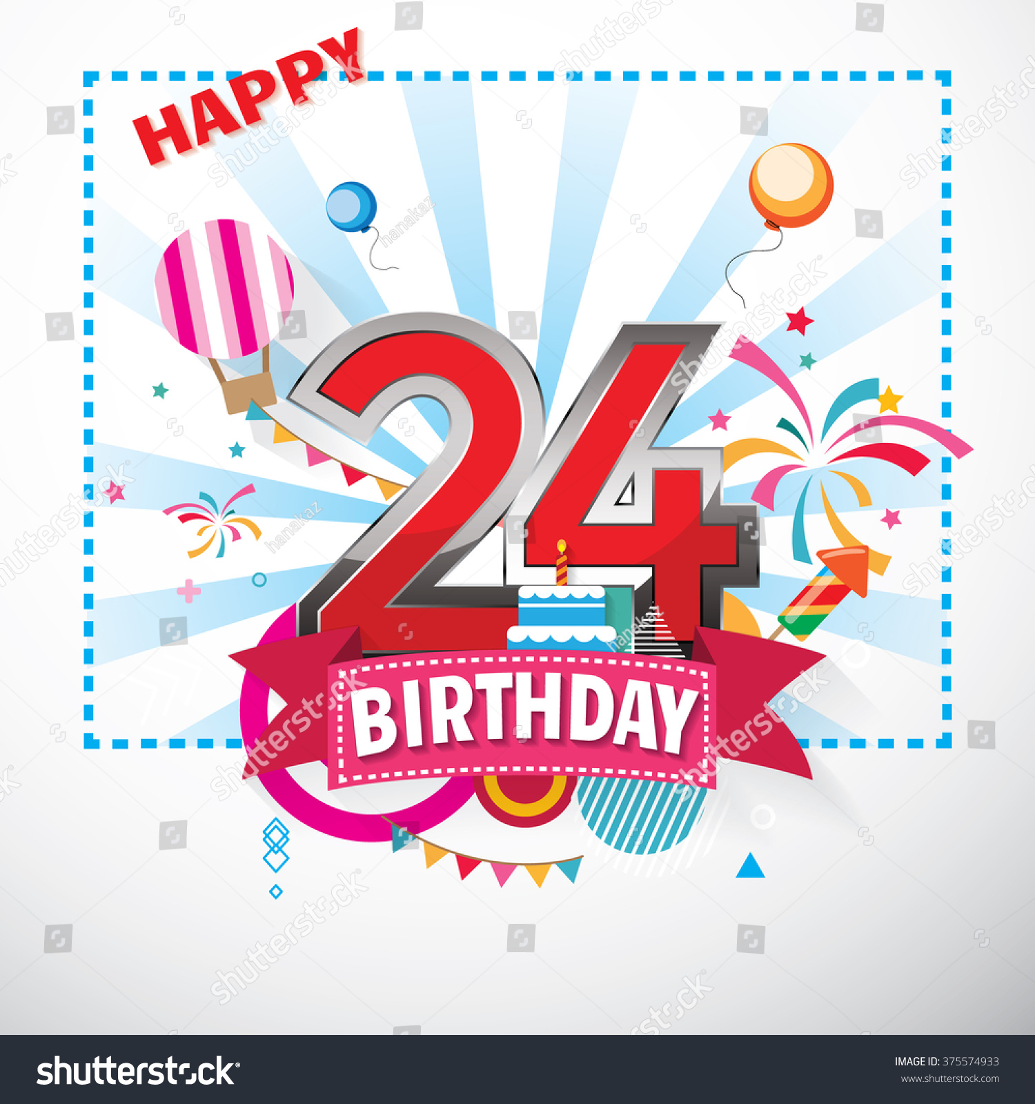Happy 24 Happy Birthday 24 Date Fun Celebration Stock Vektorgrafik