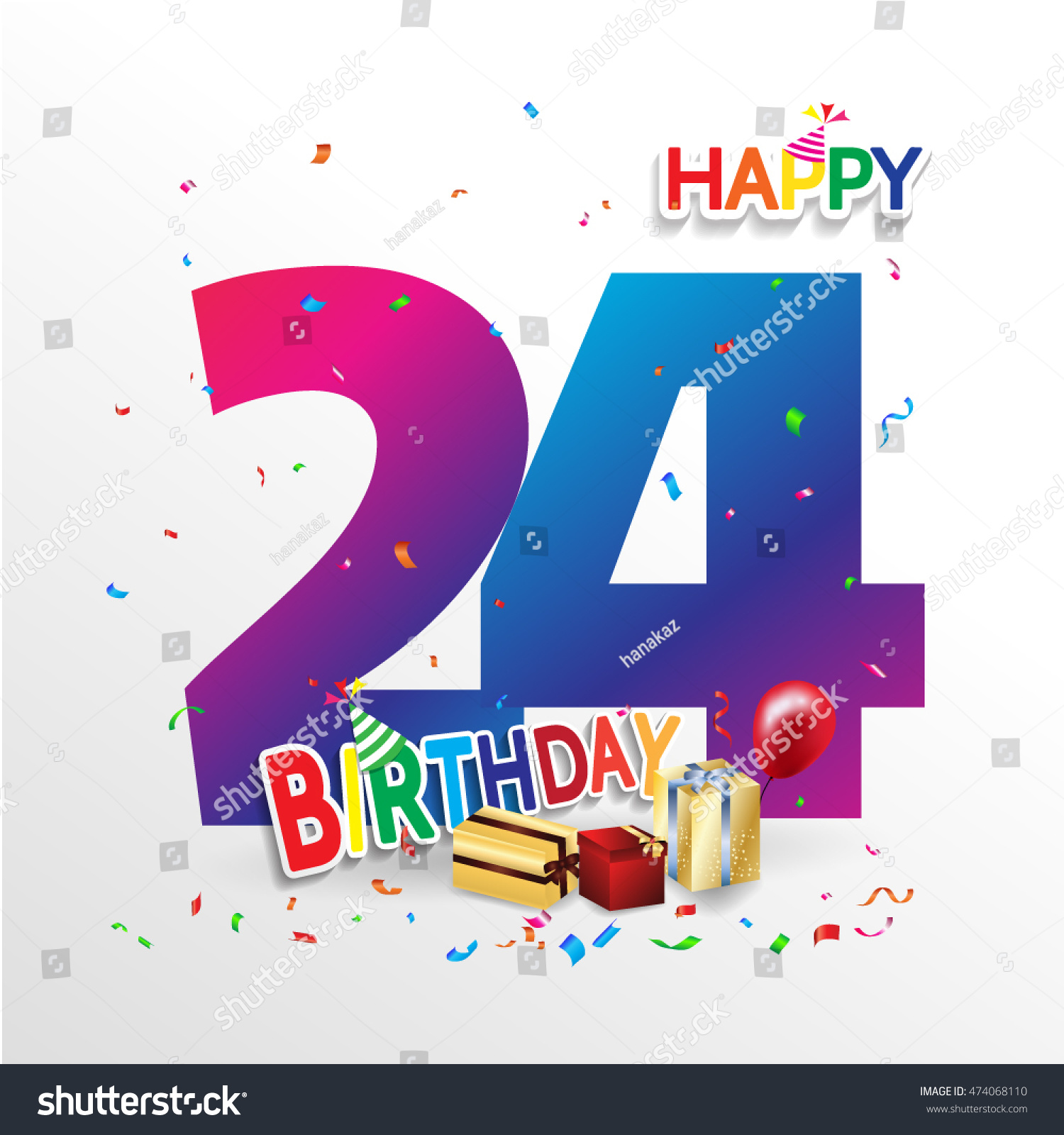 Happy 24 Happy Birthday 24 Date Fun Celebration Stock Vector