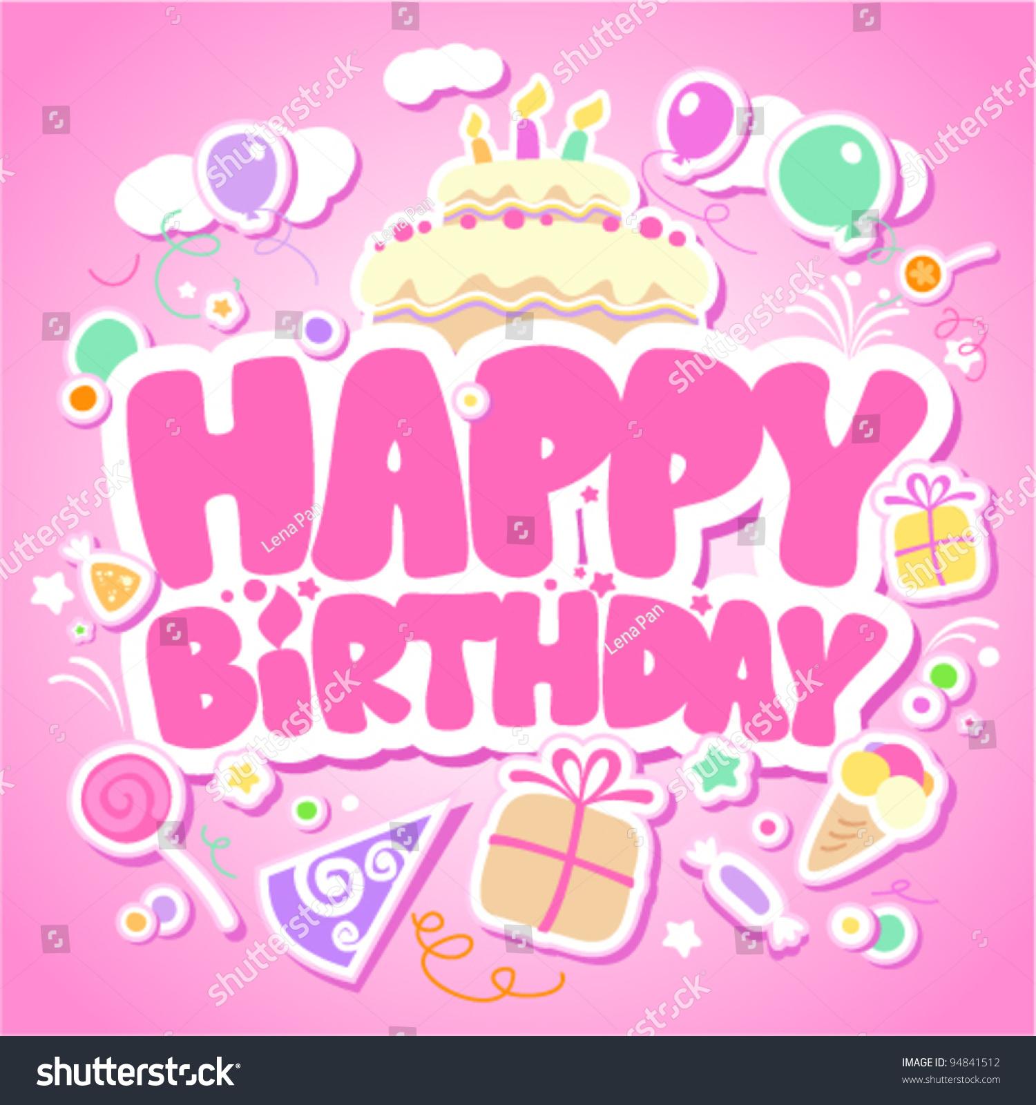 Cute Little Girl Cartoon Wallpaper Happy Birthday Pink Card Girls Stock Vector 94841512