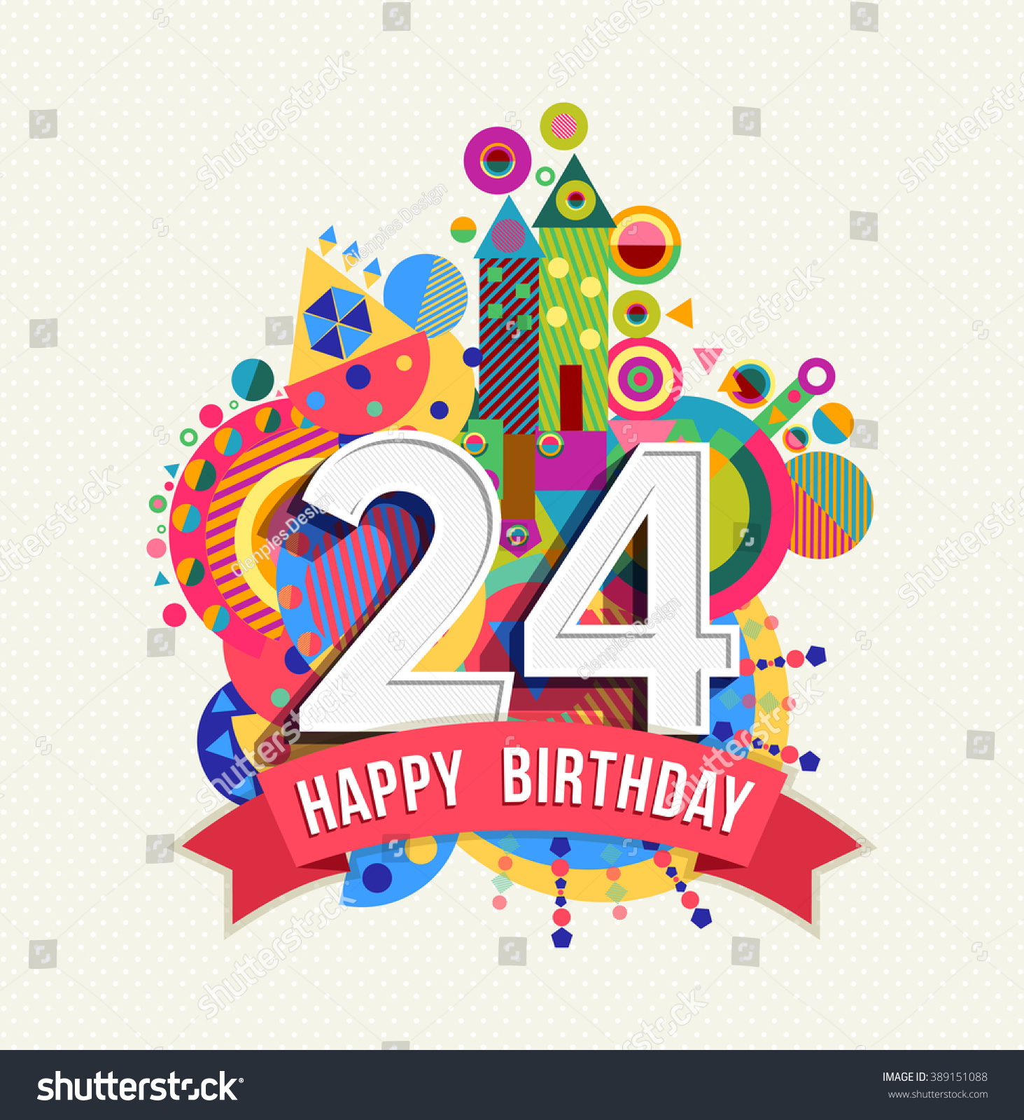 Happy 24 Happy Birthday Twenty Four 24 Year Stock Vector 389151088