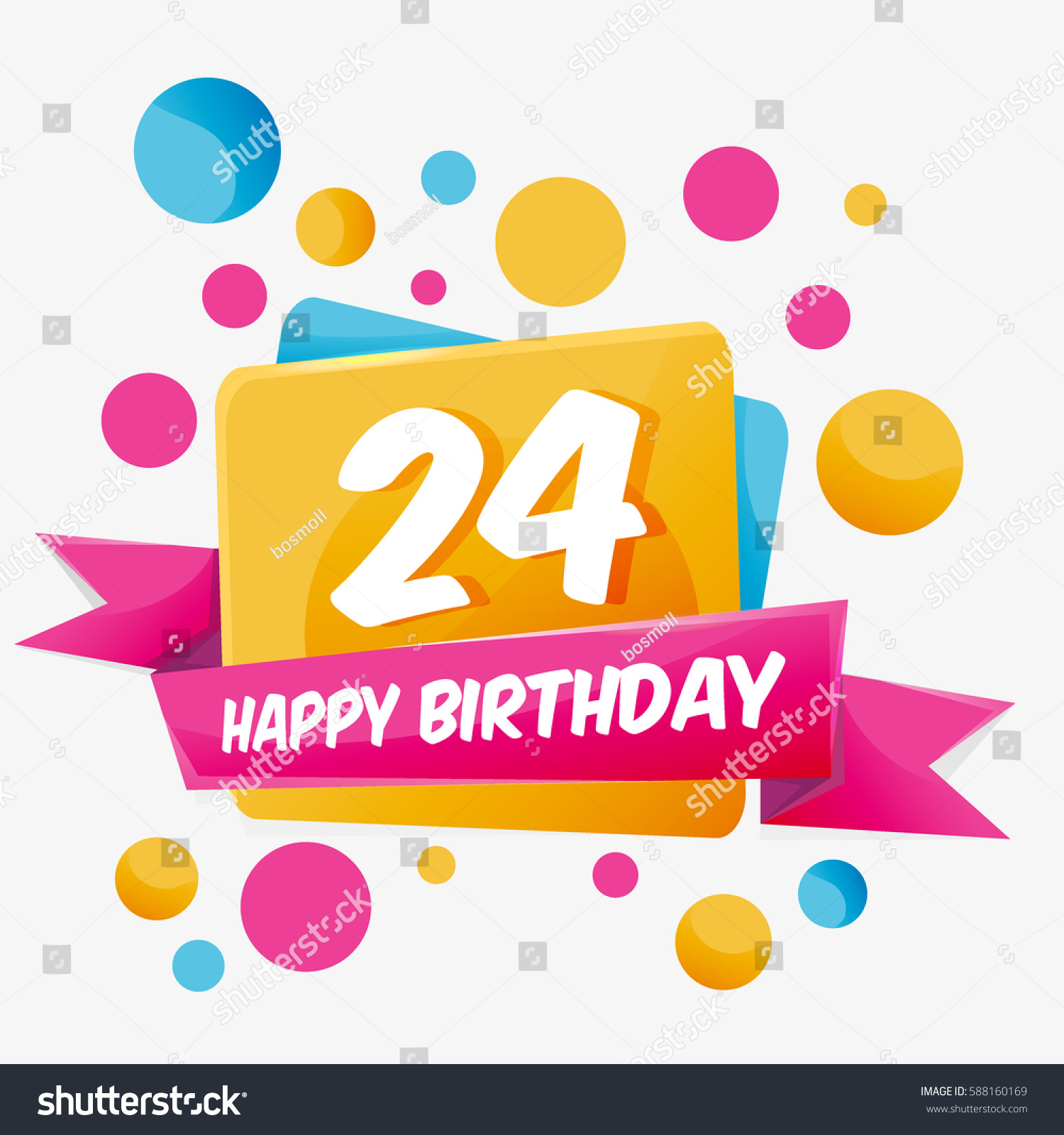 Happy 24 Happy Birthday Vector Card 24 Year Stock Vector 588160169