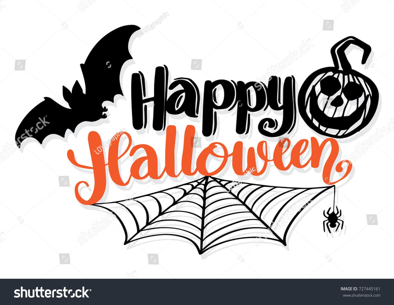 Halloween Party Invitation Vector Card Stock Auto Pumpkin Wiring Diagram Happy Lettering Bat Spider