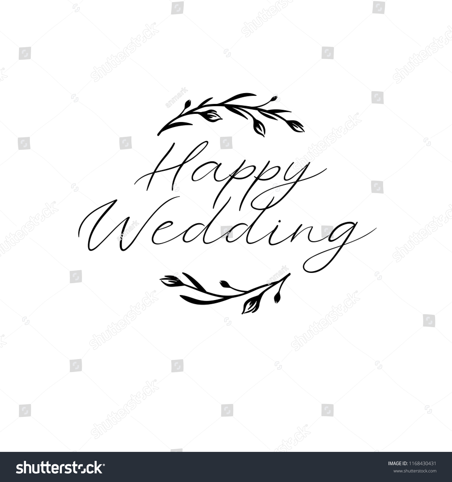 Wedding Calligraphy A Guide To Beautiful Hand Lettering Happy Wedding Hand Lettering Text Calligraphy Stock Vector