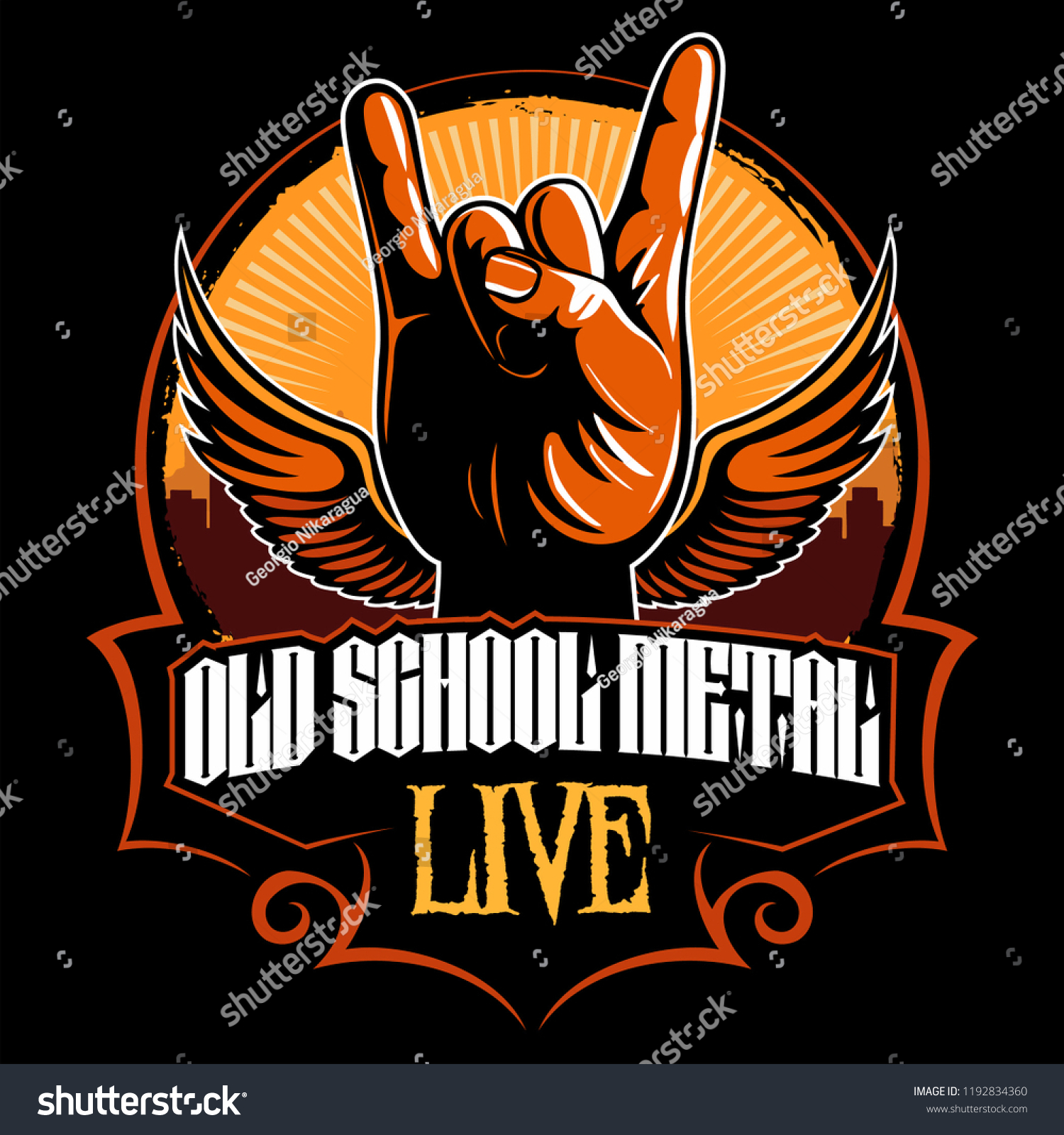 On Heavy Metal Hard Rock Heavy Metal Sign Horns Stock Vector Royalty Free