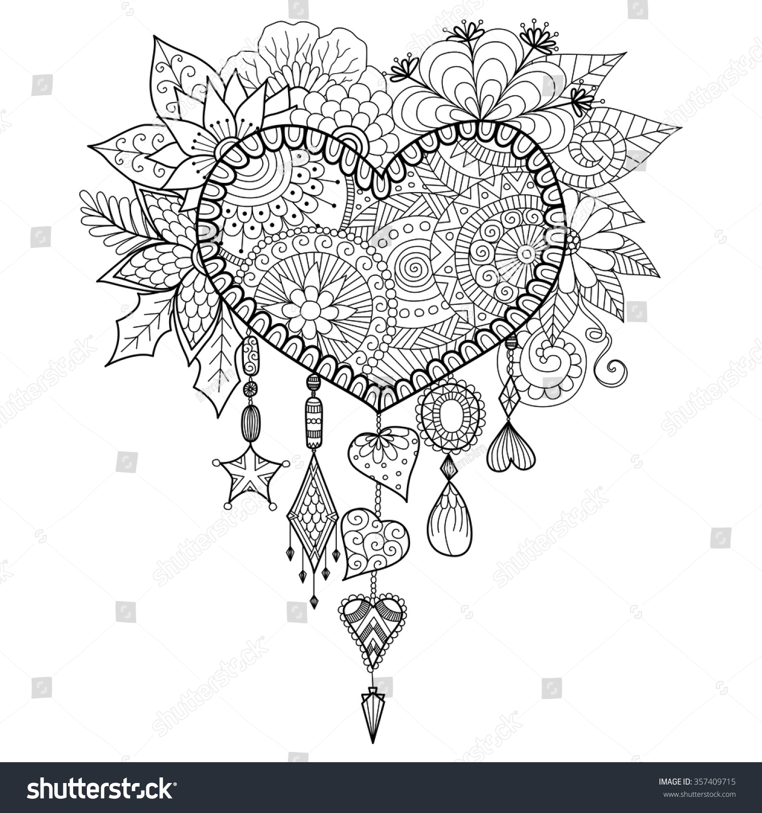 Coloring pages dream catchers -  Dream Catcher For Coloring Book For Adult Download