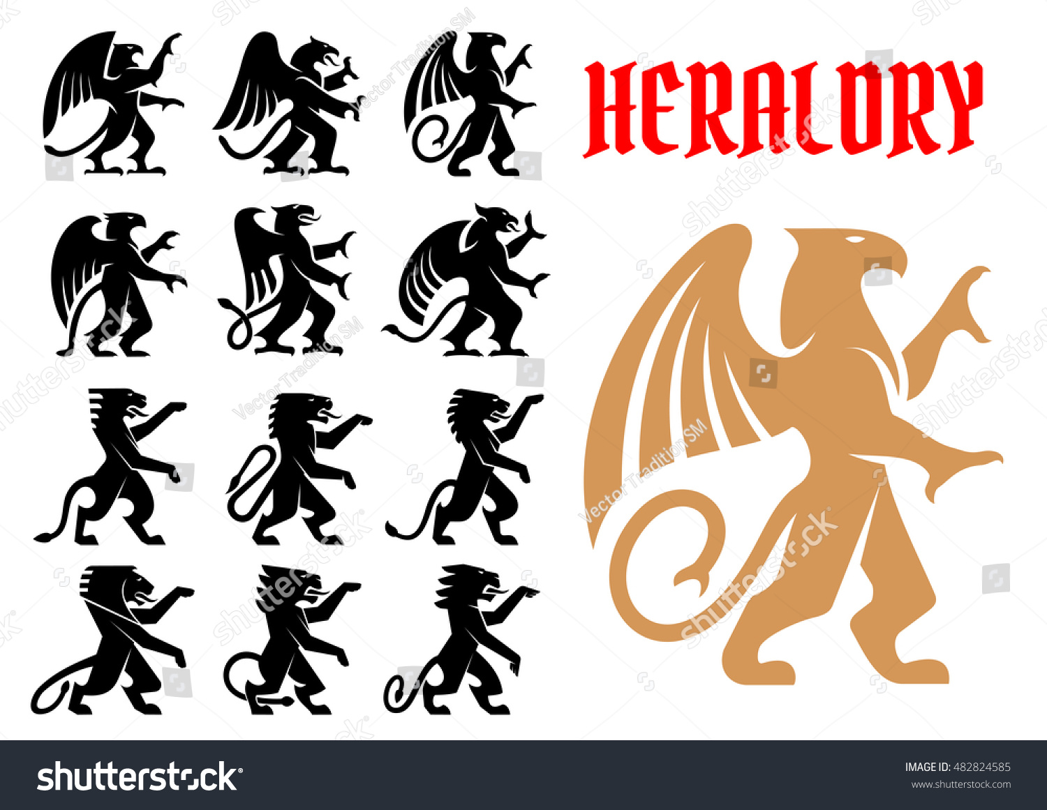 Heraldic mythical animals icons set vector heraldry emblem silhouettes of griffin dragon lion