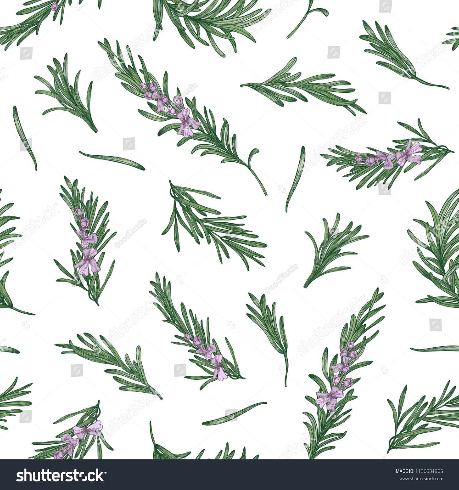 Herbal Wallpaper Herbal Seamless Pattern Rosemary Sprigs On Stock Vector Royalty
