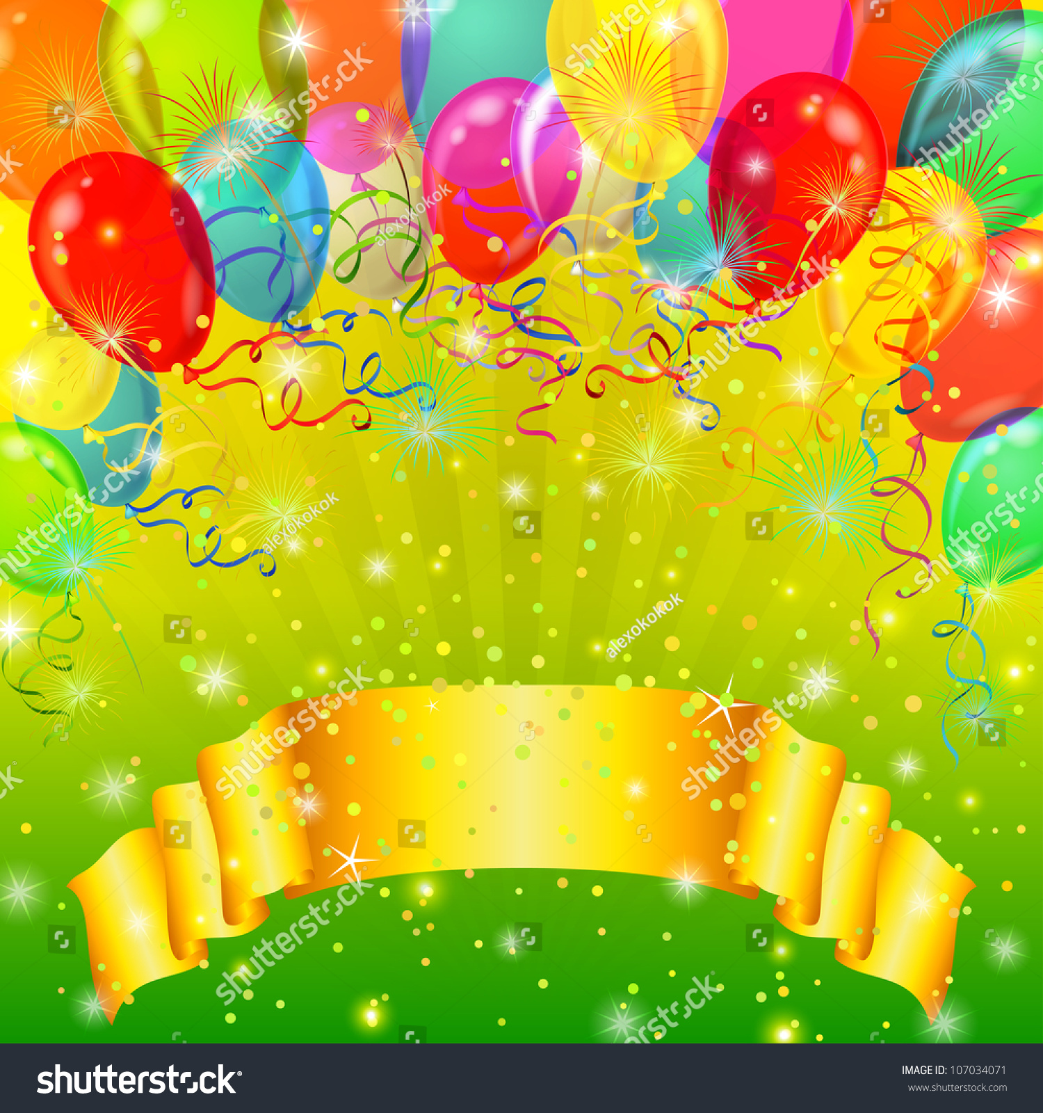 Birthday Balloons Transparent Background Holiday Background Banner Various Color Balloons Stock