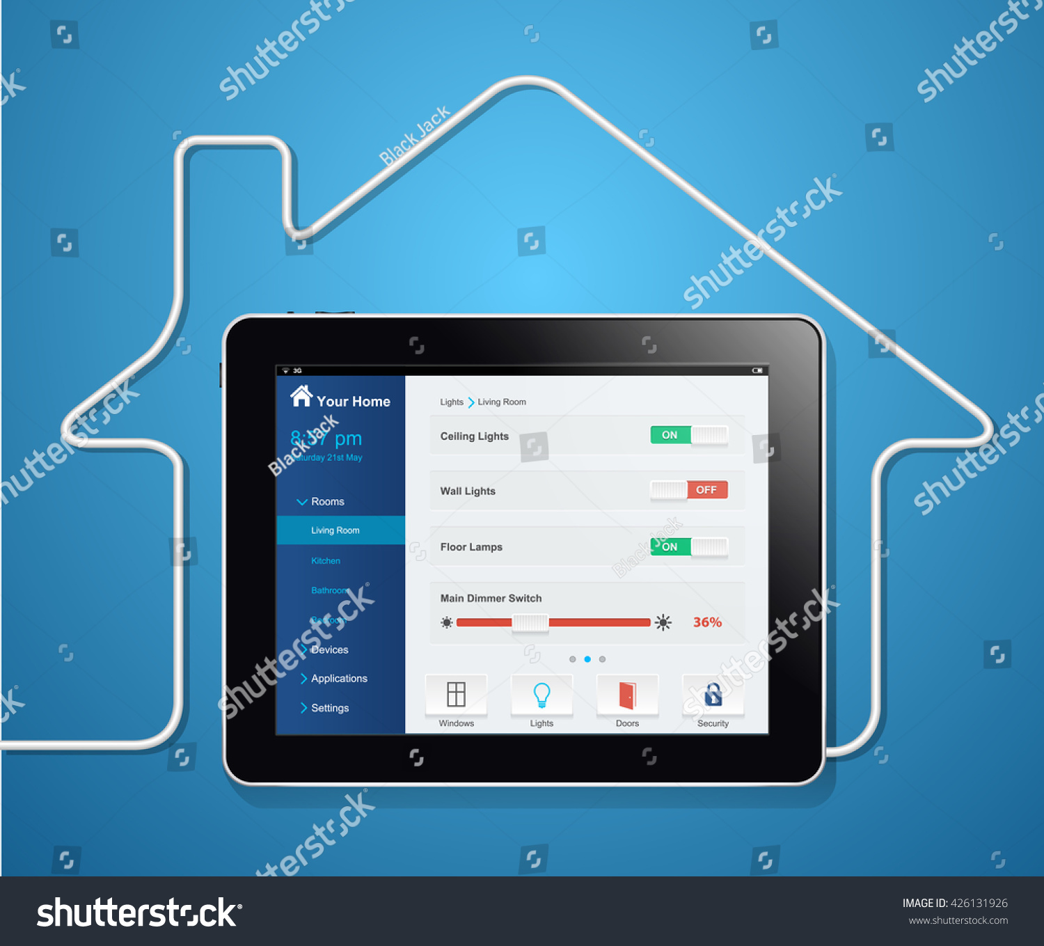 Light Automation Home Automation System Light Management Concept Stock Vector