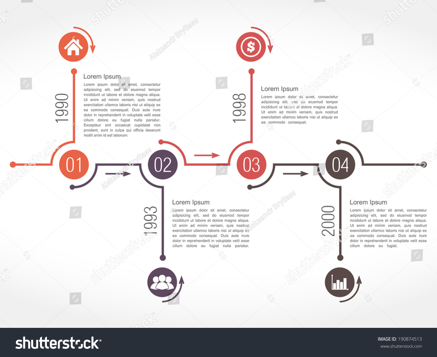 Timeline Design Horizontal Timeline Design Template Numbers Icons Stock