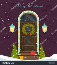 House Door Decoration Christmas Holidaysfront Door Stock