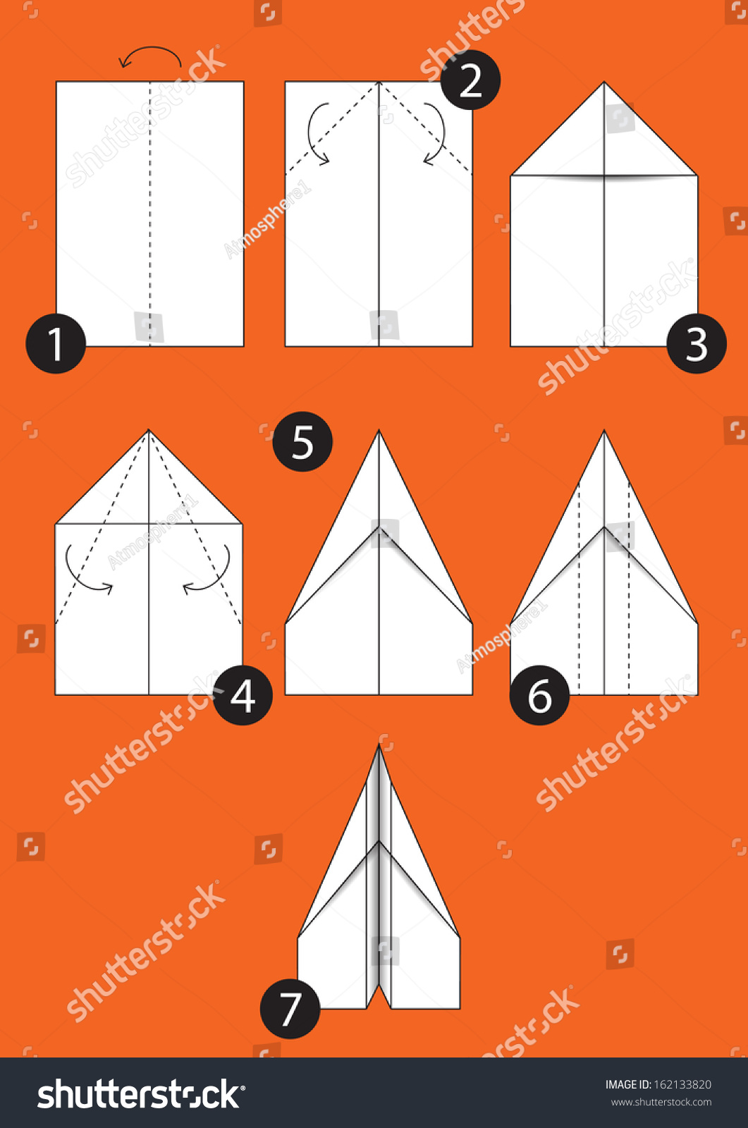 Papierhut Basteln How Make Origami Paper Airplane Instructions Stock Vector