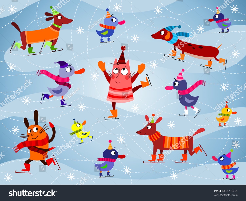 Cute Duckling Wallpaper Ice Skating Cartoon Animals Vector Eps Stock Vector