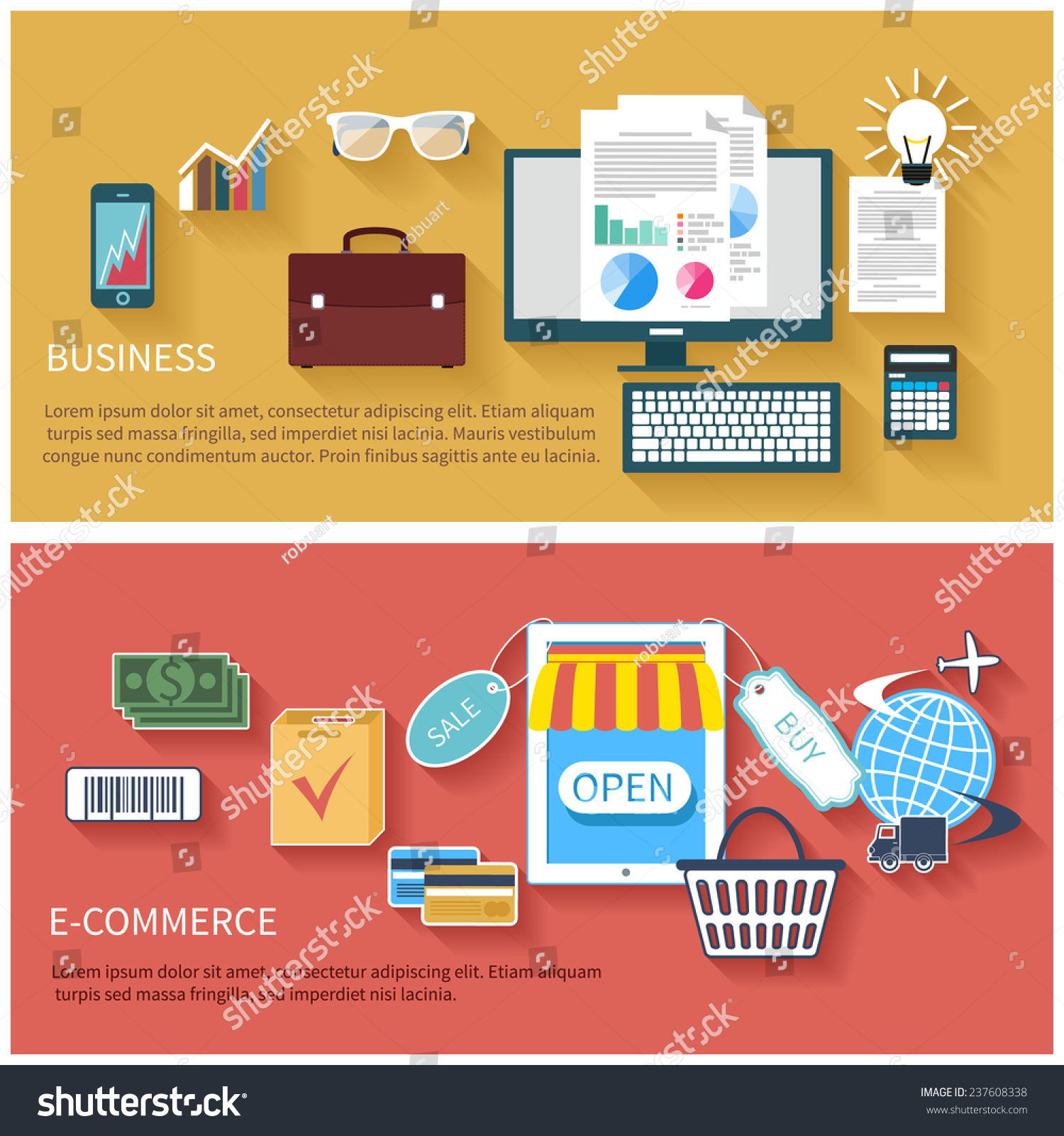 E Commerce Mobili Icon Set In Flat Design Of Business Concepts Start Up E