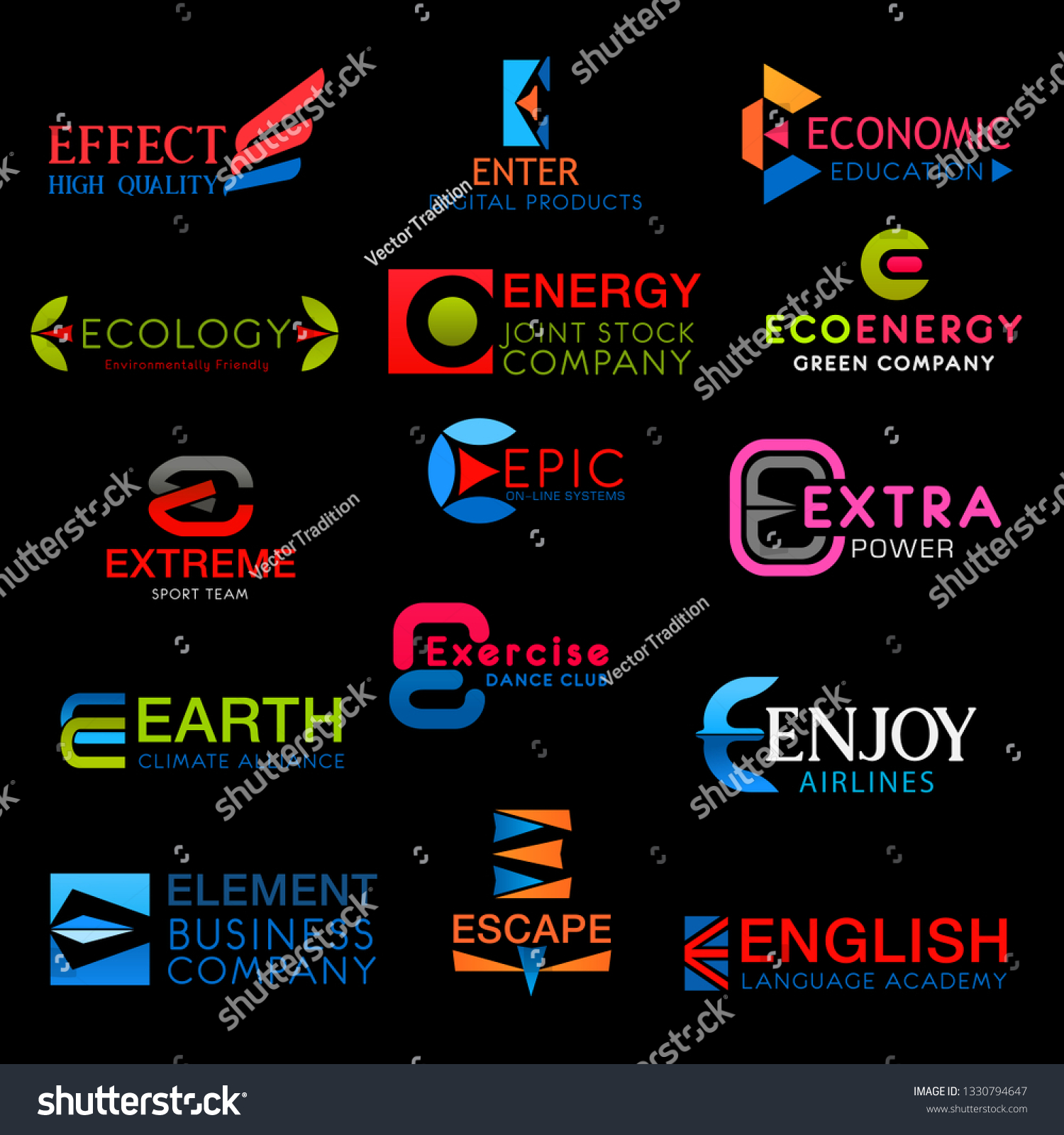 Energy E Icons On Letter E Vector Signs Stock Vector Royalty Free