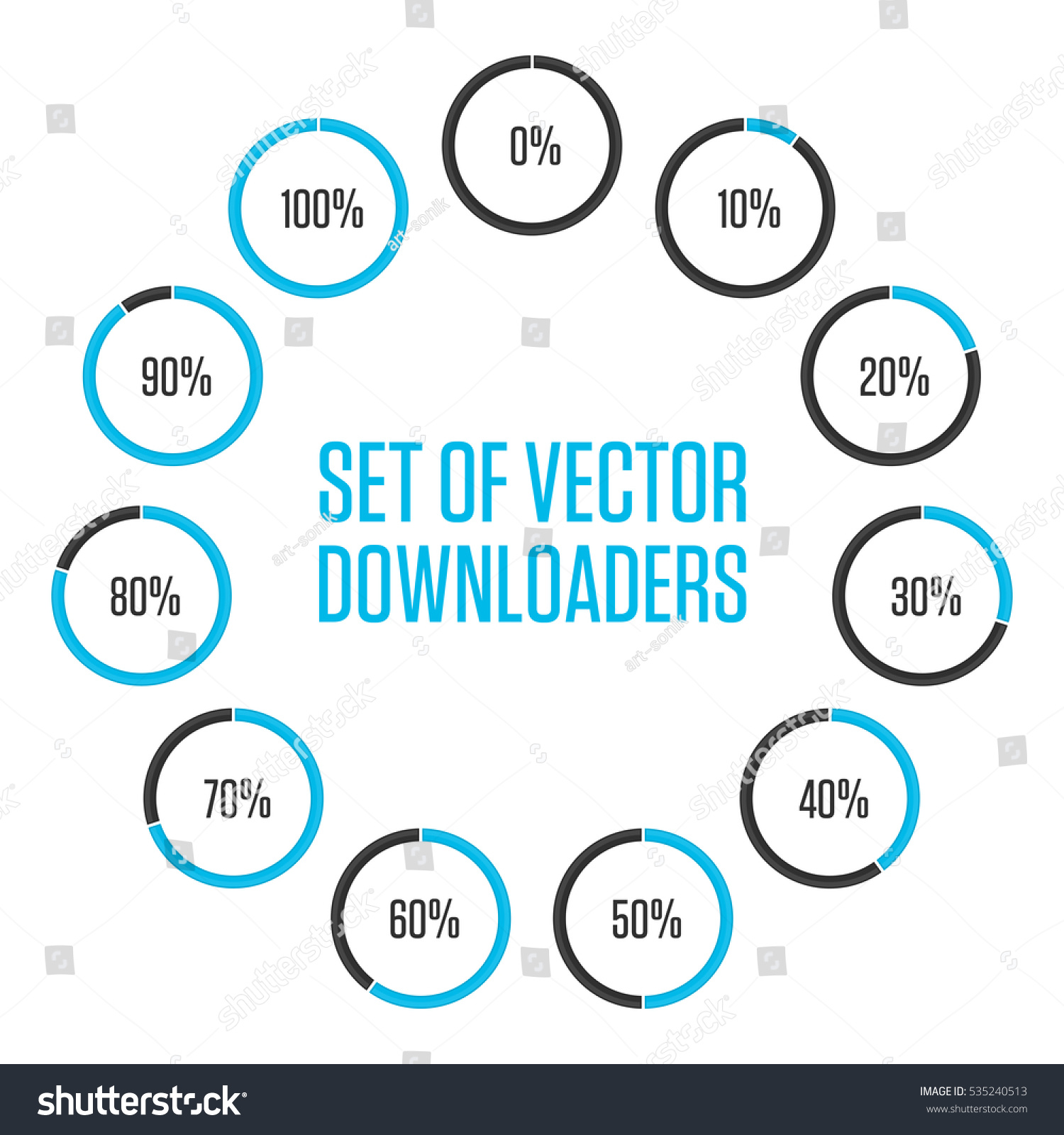 40*50 Icons Pie Graph Circle Percentage Blue Stock Vector Royalty Free