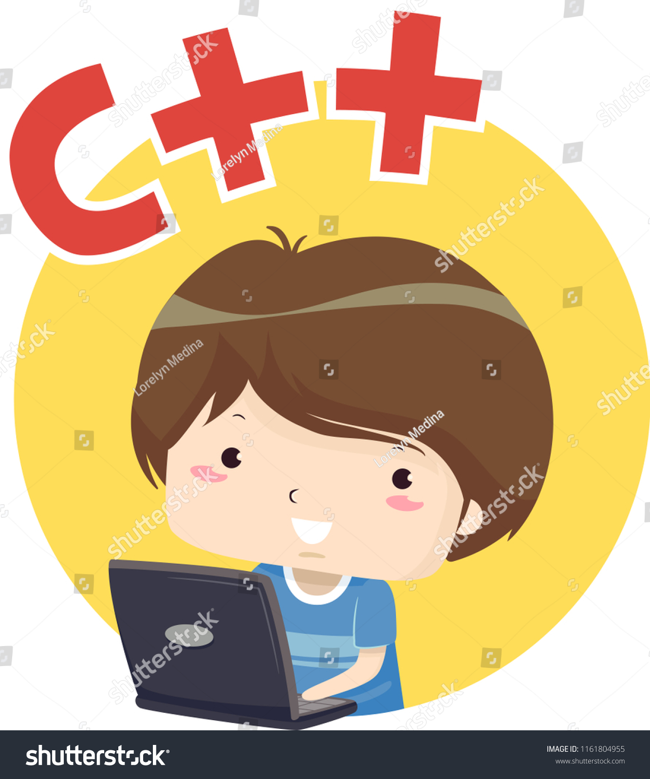 A++ Illustration Kid Boy Using Laptop C Stock Vector Royalty Free