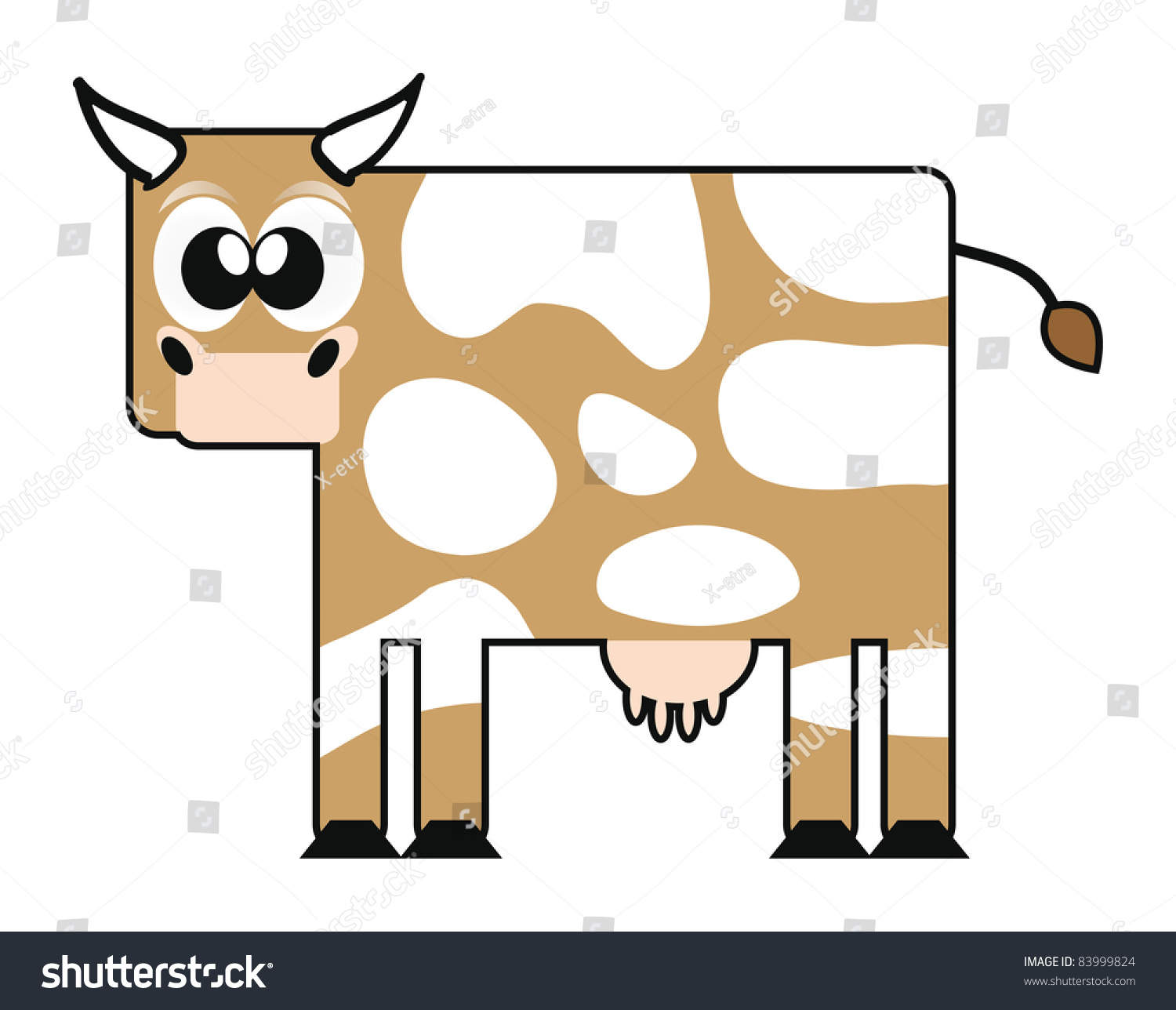 Isolation Carton Illustration Happy Cartoon Cow Isolation Over Stock Vector
