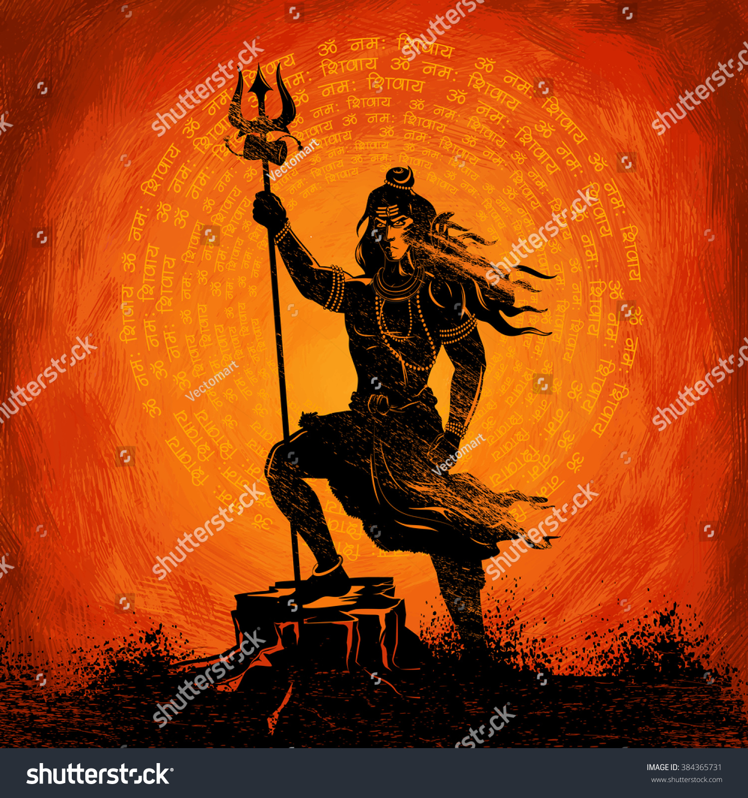 Durga Puja 3d Wallpaper Illustration Lord Shiva Indian God Hindu Stock Vector