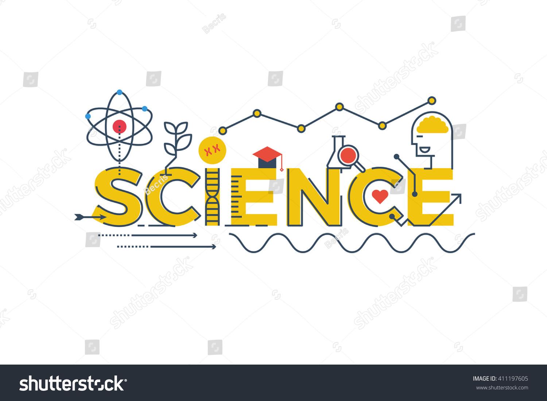 Illustration science word stem science technology stock