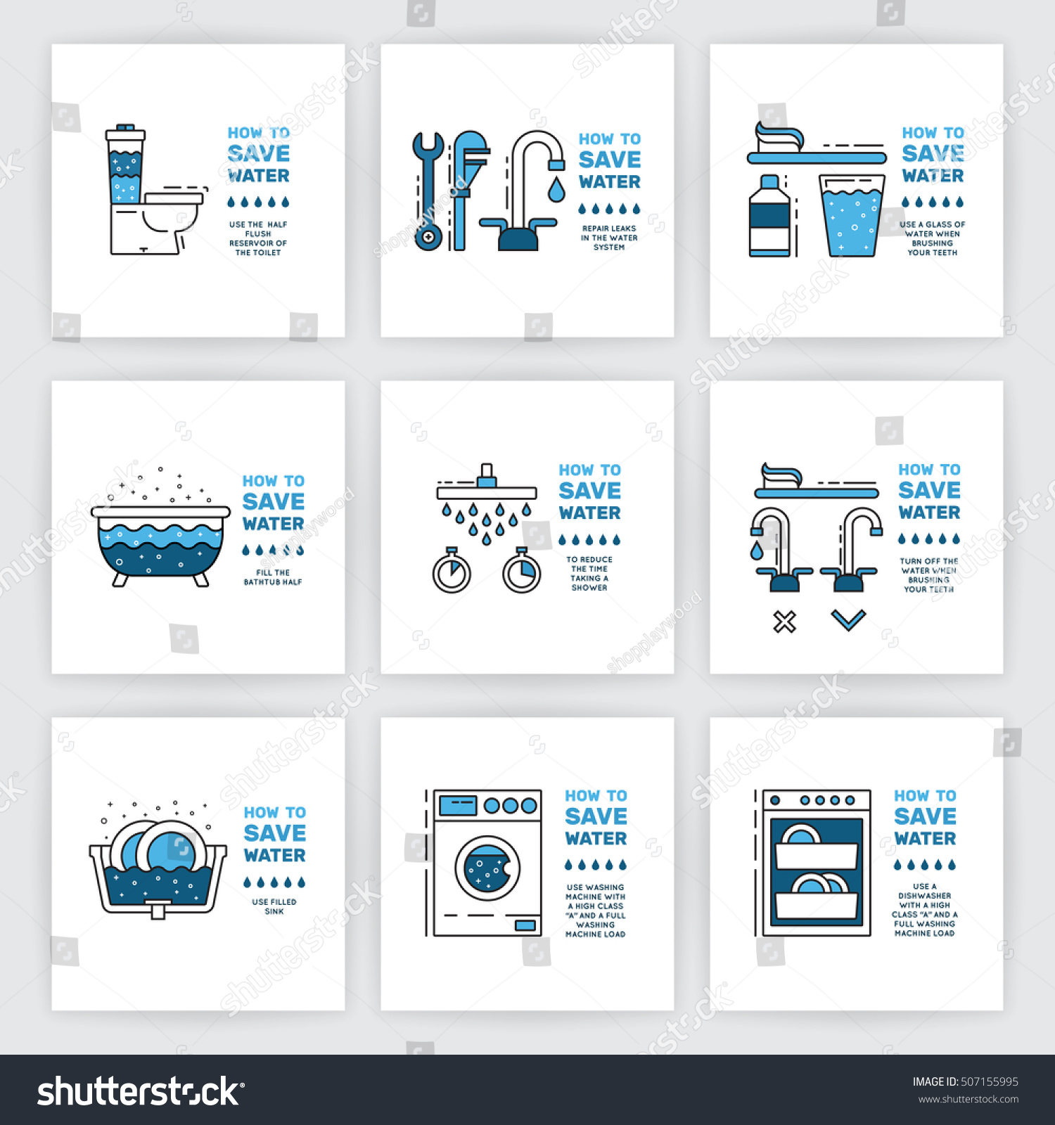 Illustration tips on saving water consumption stock vector