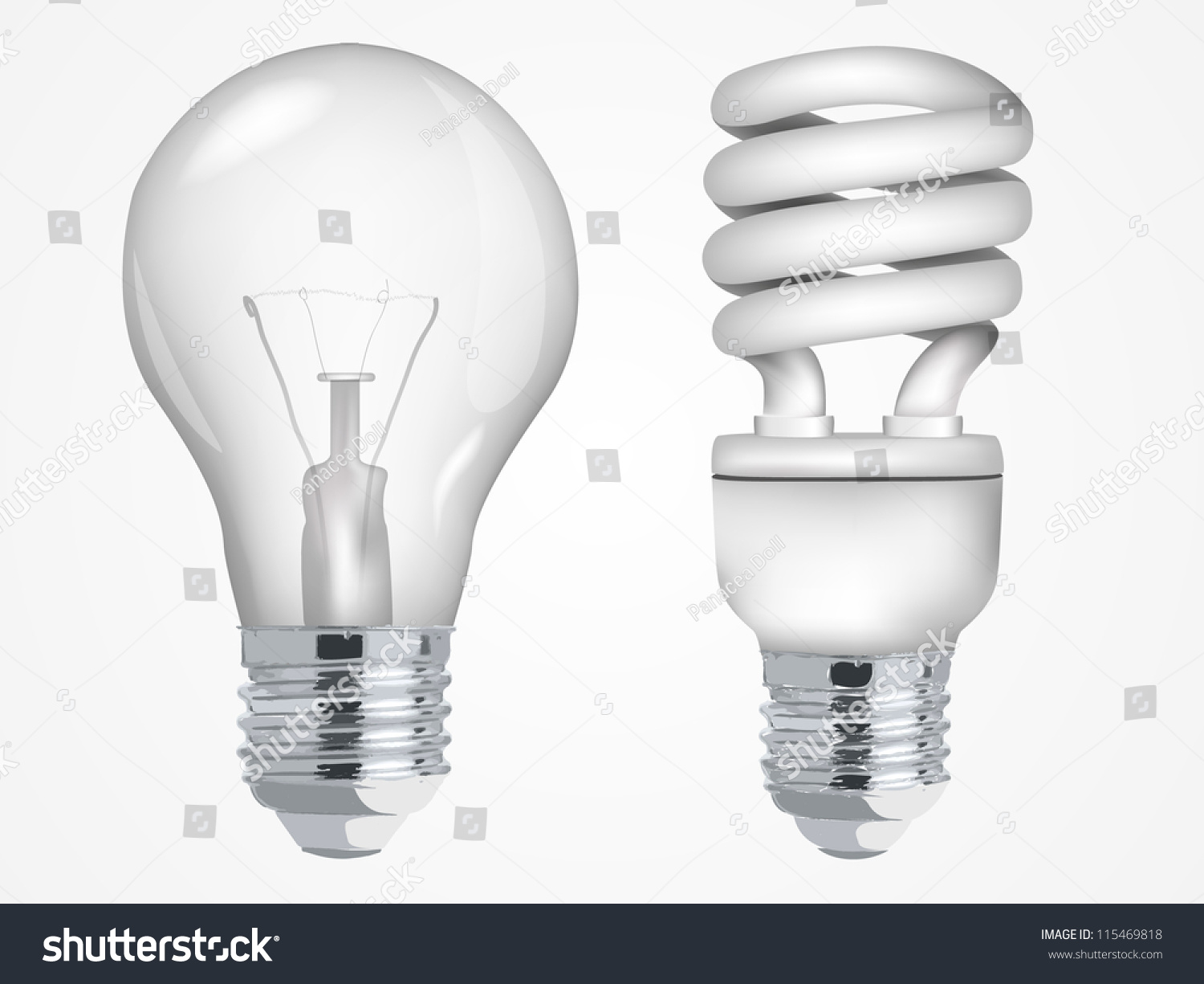 Incandescent Lamp Symbol Incandescent Fluorescent Energy Saving Light Bulbs Stock