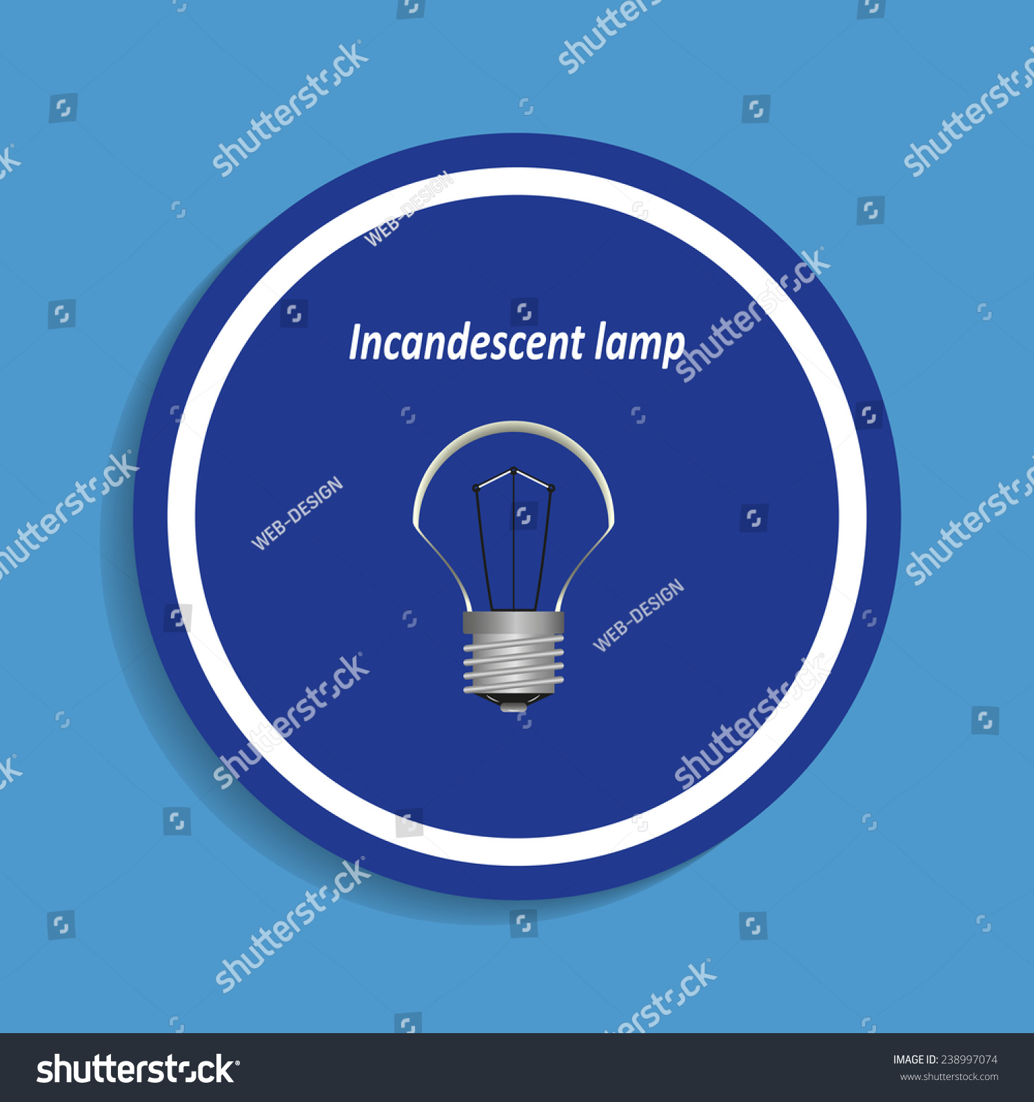 Incandescent Lamp Symbol Incandescent Bulb On Blue Background Vector Stock Vector