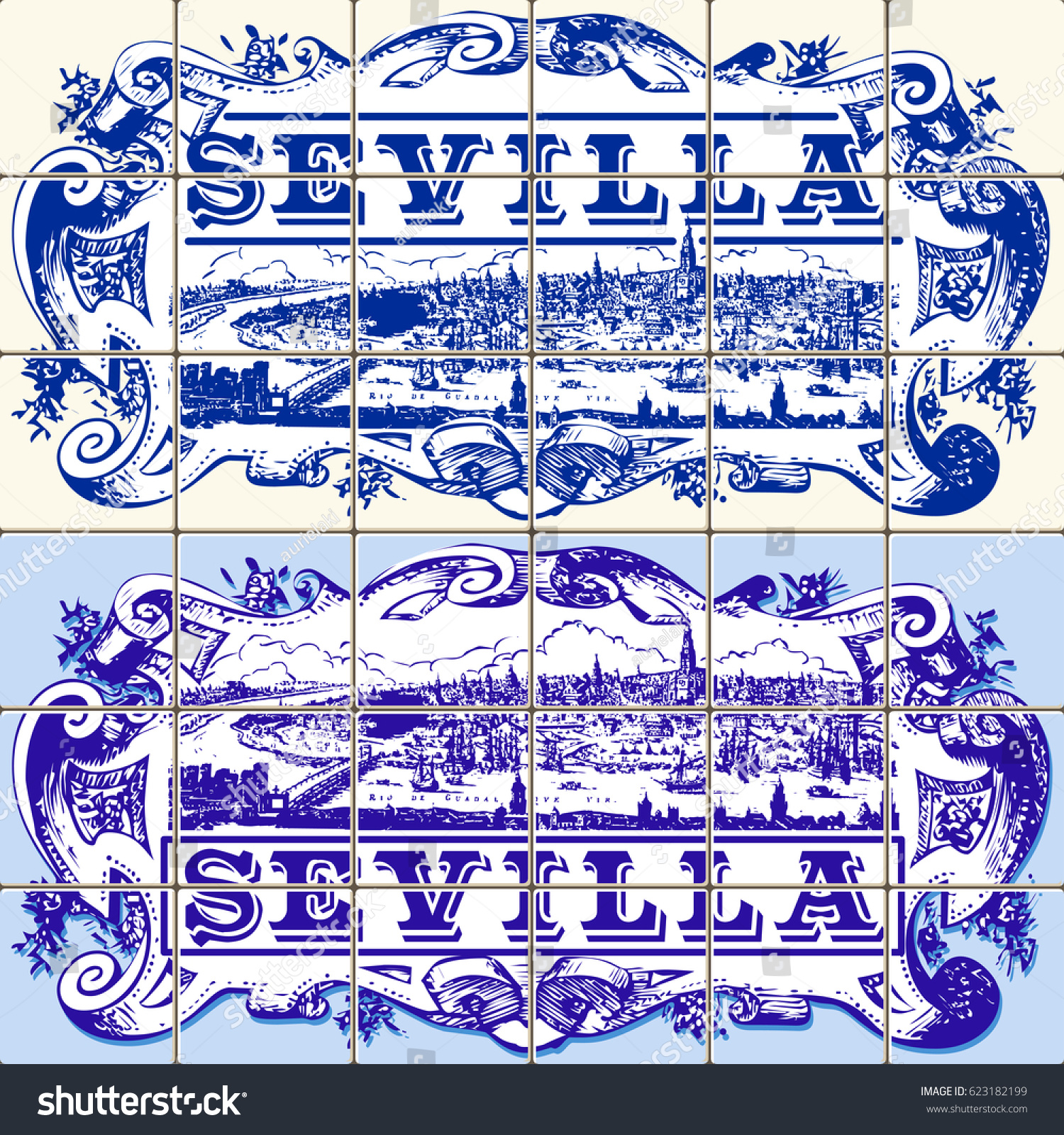 Azulejos Sevilla Indigo Blue Azulejos Pattern Sevilla Paint Stock Vector Royalty
