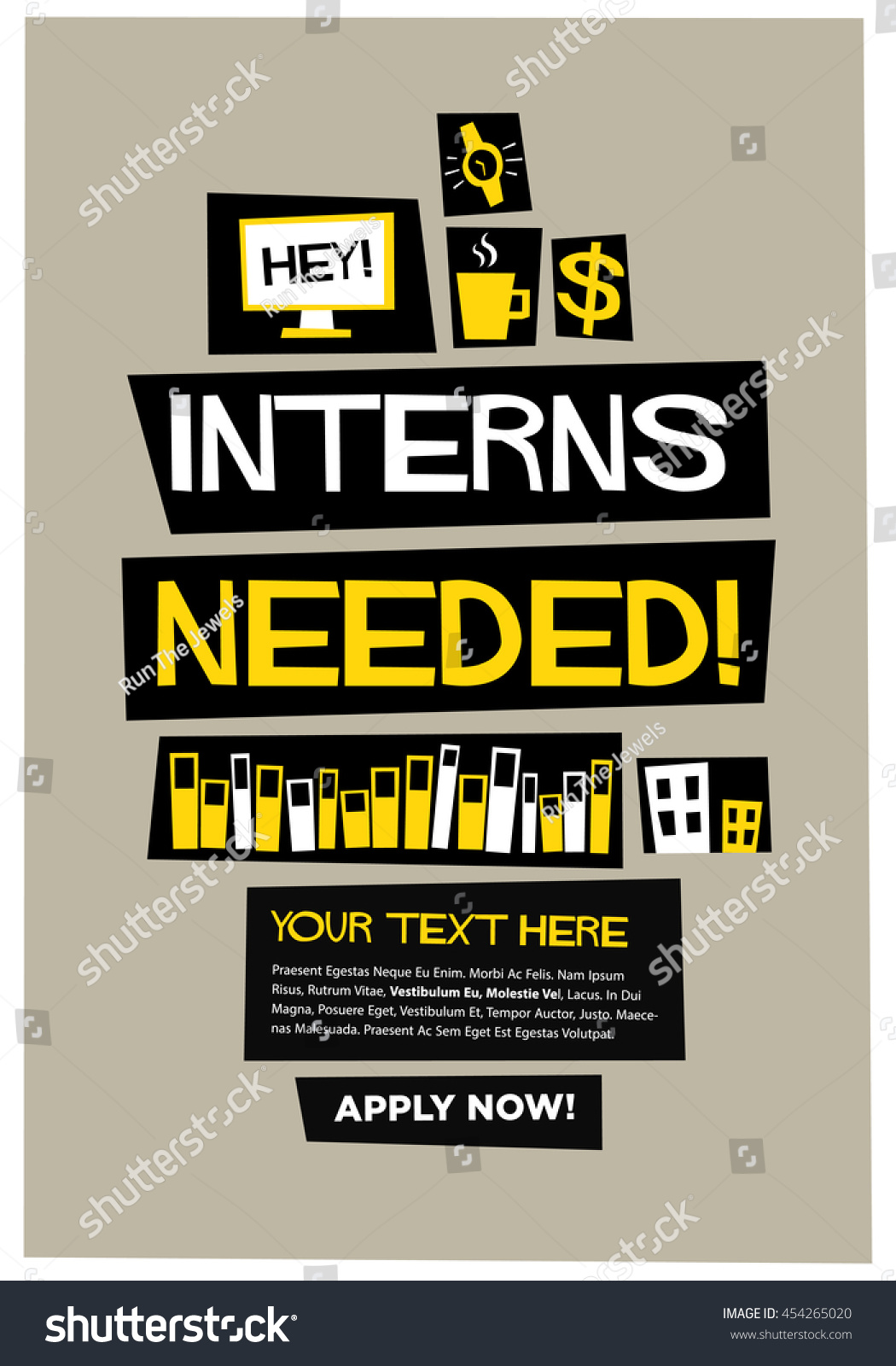 Interns needed flat style vector illustration recruitment poster design with text box template