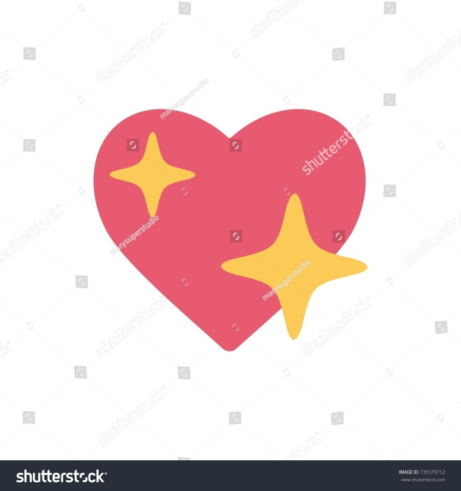 iphone shine heart emoji sign icon with the sparkle star, Emoji Facebook reactions vector like
