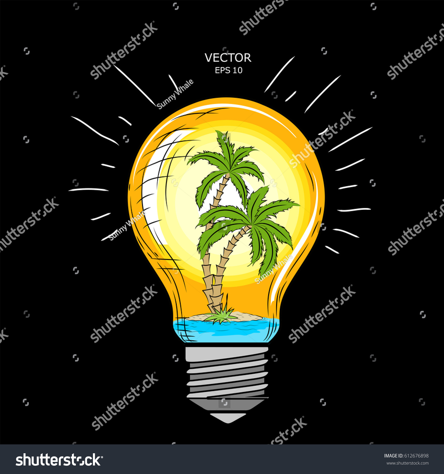 Glass Lamp Vector Island Palm Trees Inside Glass Lamp Stock Vector Royalty