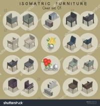 Isometric Chair Furniture Set Stock Vector 598590740 ...