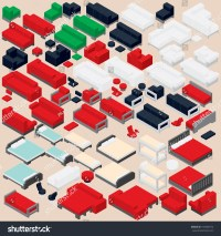 Isometric Furniture Collection Set Various Vector Stock ...