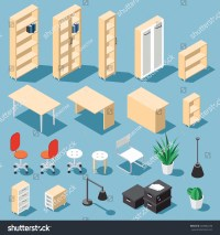 Isometric Light Brown Office Furniture Set Stock Vector ...