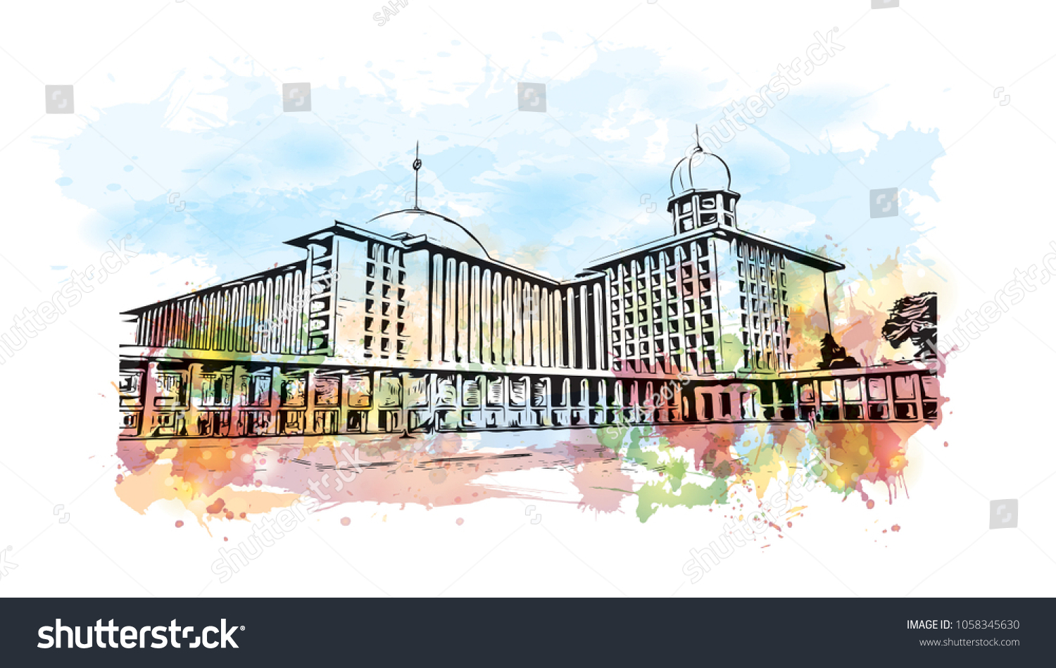Arte Hotel Jakarta Istiqlal Mosque Central Jakarta Indonesia Template Stock Vector