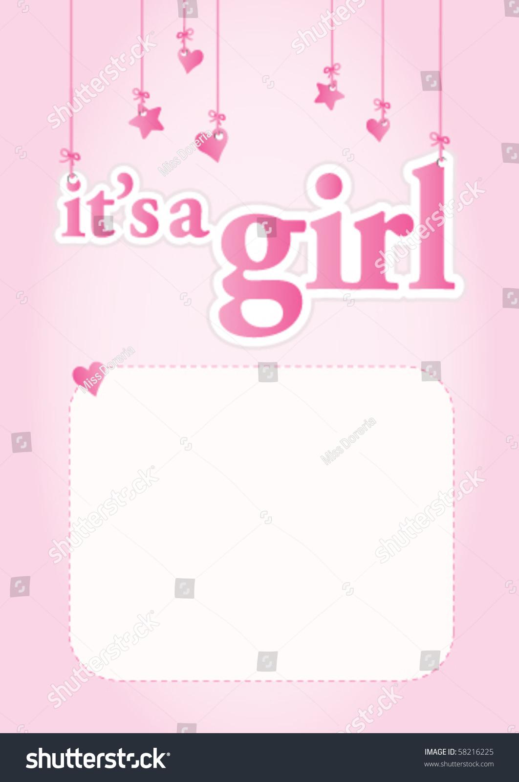 Cute Baby Girl Child Wallpaper Girl Baby Shower Celebration Light Pink Stock Vector